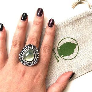 Prehnite Stone Sterling Silver 925 Ring Size 8
